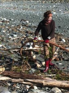 Jane gathering Driftwood for the Garden