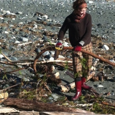 Jane gathering Driftwood for the Garden